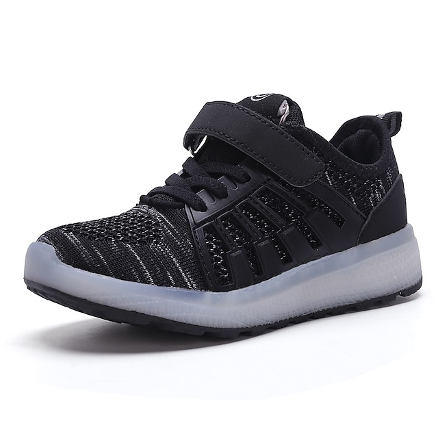 Boys' Girls' Trainers Athletic Shoes Comfort LED Shoes USB Charging Elastic Fabric Little Kids(4-7ys) Big Kids(7years +) Daily Walking Shoes Black Pink Green Fall Spring