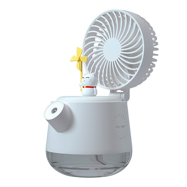 Mini Portable Desktop Humidifier Fan with Night Light Air Cooler Air Conditioner LED USB Personal Space Cooler Fan Air Cooling Fan Rechargeable Fan Desk
