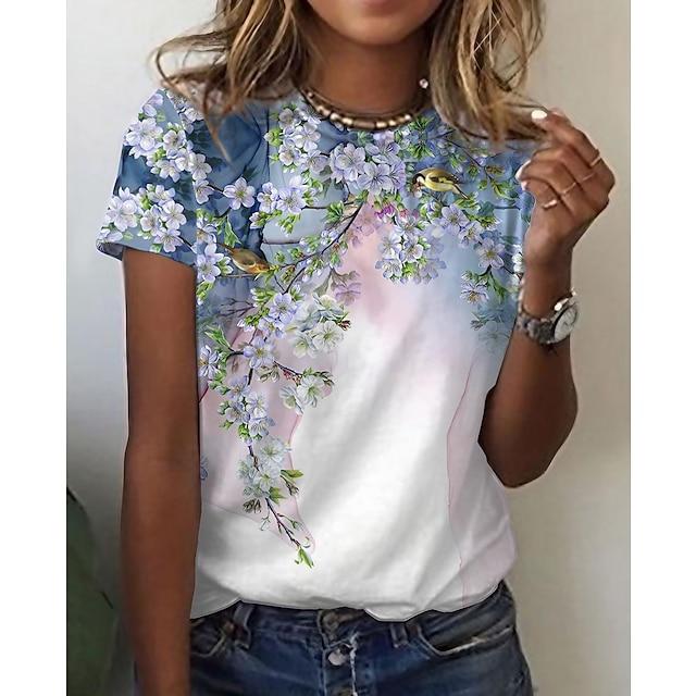 Γυναικεία Άνθινο Θέμα Ζωγραφιά Μπλουζάκι Φλοράλ Πουλί Στάμπα Στρογγυλή Λαιμόκοψη Βασικό Άριστος Ανθισμένο Ροζ Πράσινο του τριφυλλιού Λευκό