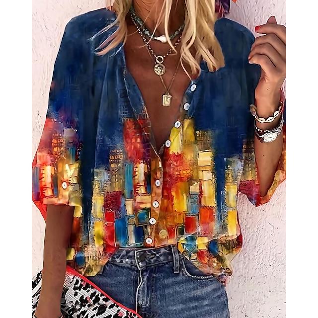 Per donna Blusa Camicia Città Pop art Paesaggi Manica lunga Stampa Colletto Mao Etnico Stoffe orientali Top Manica a sbuffo Standard Blu Giallo Vino