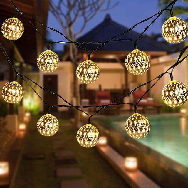 Solar String Light LED Outdoor Light Moroccan Ball Garden Light Waterproof 10M-50LED 7M-30LED 5M-20LED Globe Fairy String Light Orb Lantern Christmas Lighting for Outdoor Wedding Party Home Decoration
