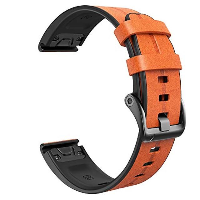 Smartwatch szalag bőrszíj Garmin Fenix 5x / Fenix 5x plus / Fenix 6x / Fenix 6x Pro / Fenix 3 / Fenix 3 h 26 mm-es gyors illesztésű smartwatch szalaghoz (világosbarna)