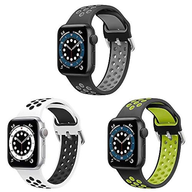 Apple saat kayışı için uyumlu smartwatch bandı 38mm 40mm 42mm 44mm iwatch serisi için yumuşak silikondan yapılmış iki tonlu spor yedek kayış 6 5 4 3 2 1, se, sport, edition