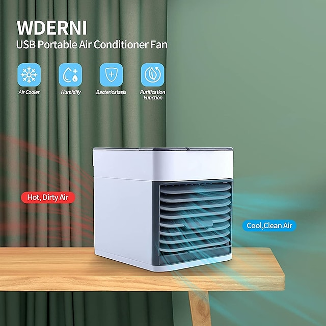 Home Mini Air Conditioner Portable Air Cooler 7 Colors LED USB Personal Space Cooler Fan Air Cooling Fan Rechargeable Fan Desk EvaporativePortableAirConditioner