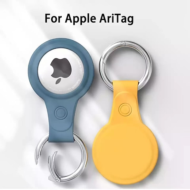 Matte PU Leather Protective Case For Apple Airtag Tracker Location Anti-Lost Anti-Scratch Protector Cover For iPhone Airtags with Keychain Smart Accessory