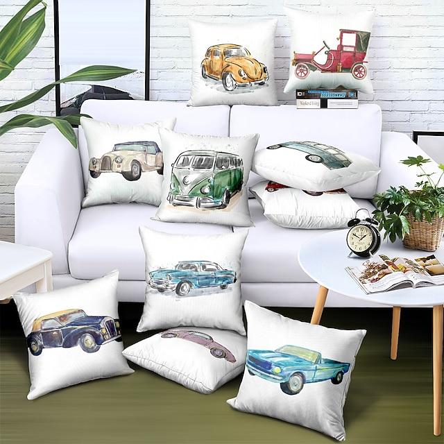 両面クッションカバー1pcフェイクリネンソフト装飾スクエアスロー枕カバークッションケース枕カバーソファ寝室用高品質洗濯機で洗えます