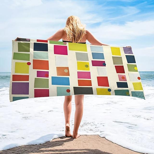 wielofunkcyjny ręcznik plażowy, prostokątny jedwabny szal w kolorowe paski z bardzo drobnych włókien, ręcznik bez piasku, na podróż, kemping, basen, na zewnątrz lub na piknik