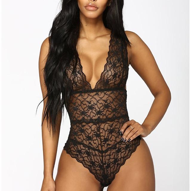 Mujer Malla Encaje Sexy Body Ropa de dormir Un Color Bordado Negro / Rojo S M L