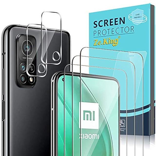 Phone Screen Protector For Xiaomi Mi 11 Poco X3 NFC Mi 10 Mi 10 Pro Mi 10T Pro 5G Tempered Glass 5 pcs High Definition (HD) Scratch Proof Front & Camera Lens Protector Phone Accessory