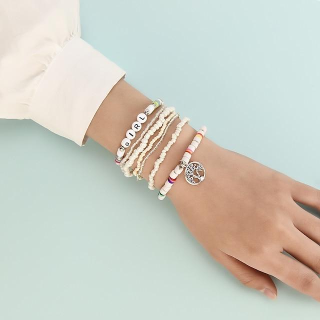 Bead Bracelet Set 8pcs Stacking Stackable life Tree Boho Acrylic Bracelet Jewelry White For Prom Date Birthday Beach