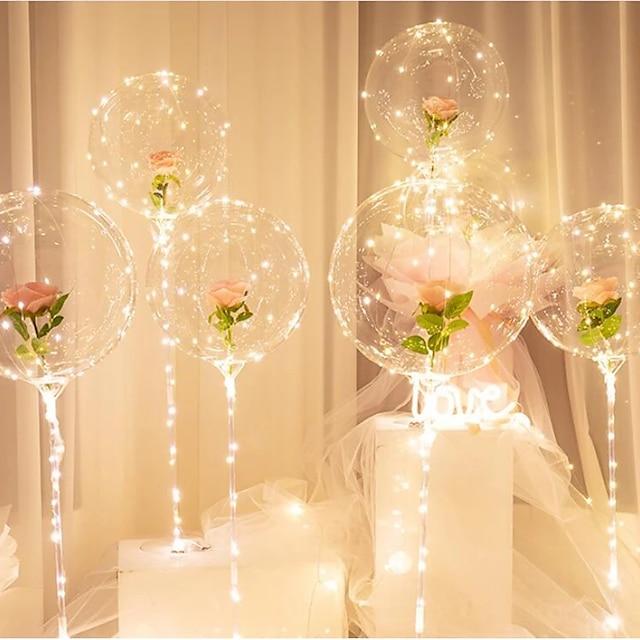2stk fødselsdagsfest dekoration led ballon kolonne stativ med base gennemsigtig folie ballon jul bryllup indretning boligindretning tilbehør