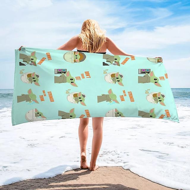 multifunktionelt badehåndklæde, superfin fiber rektangulær farverig tegneseriemønstret silketørklæde, sandfrit håndklæde, til rejser, camping, pool, udendørs eller picnic