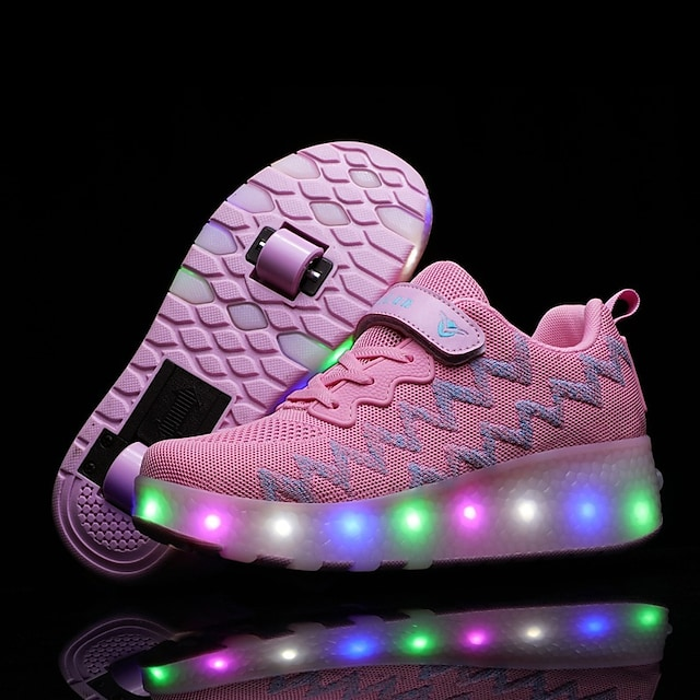 Unisex Trainers Athletic Shoes LED Shoes USB Charging Synthetics Glitter Crystal Sequined Jeweled Big Kids(7years +) Little Kids(4-7ys) Toddler(9m-4ys) Daily Walking Shoes Luminous Pink Black Spring