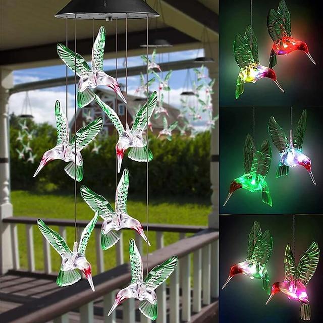 lampes solaires extérieures lampe de carillon éolien coloré solaire étanche extérieur pendentif en forme de colibri led veilleuse cour jardin patio fenêtre lampe colorée décorative led lumière