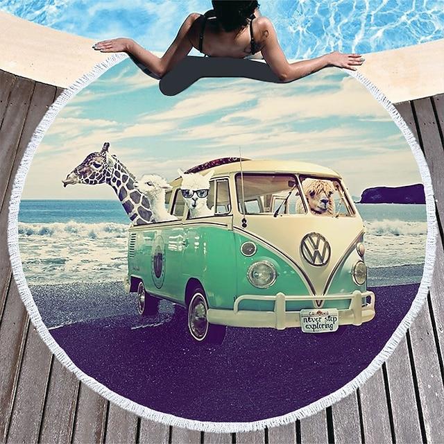 víceúčelová plážová osuška, velmi jemná kulatá barevná hedvábná šála se vzorem přímořského autobusu, ručník bez písku, na cestování, kempování, u bazénu, venku nebo na piknik