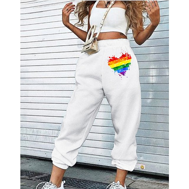 Women's Fashion LGBT Pride Comfort Loose Weekend Pride Day Flare Sweatpants Pants Rainbow Heart Full Length Pocket Print White Black