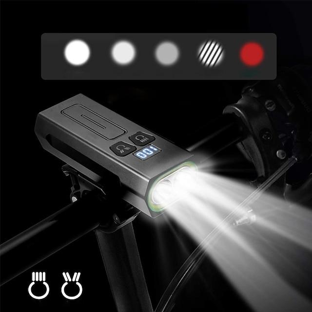 LED Kerékpár világítás Kerékpár első lámpa LED Kerékpár Kerékpározás Vízálló Forgatható Szuper fényes USB töltő kimenet 18650 1800 lm Újratölthető elem Fehér Kettős fényforrás színe Kempingezés
