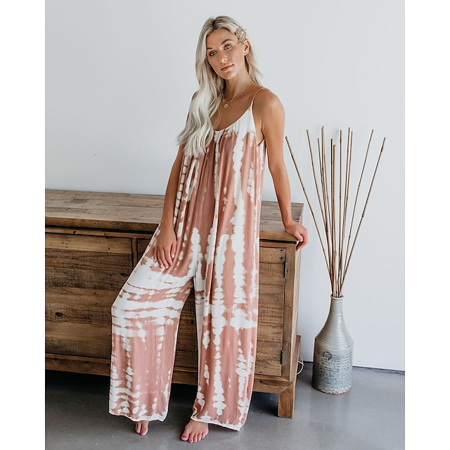 Women's Printed Jumpsuit Wide-Leg Leisure Pants Daily Comfy