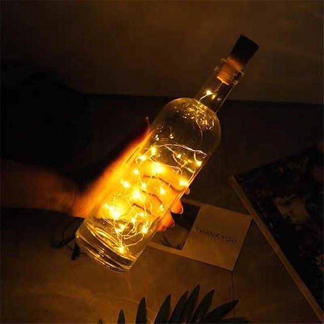 2m 20led 태양열 전원 와인 병 코르크 모양의 led 구리 와이어 문자열 야외 조명 화환 조명 축제 야외 요정 빛 1 pc