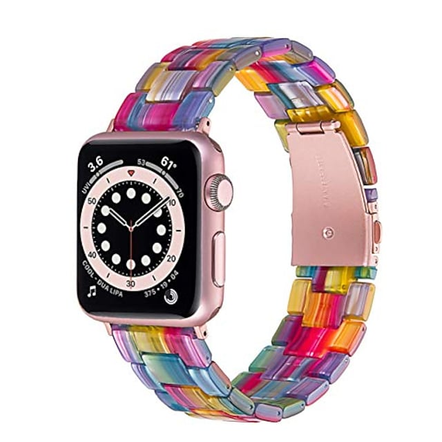 Smart watch band resin bands compatible with apple watch 44mm series 6/se/5/4, 42mm 3/2/1 replacement iwatch wristband stainless steel buckle strap women
