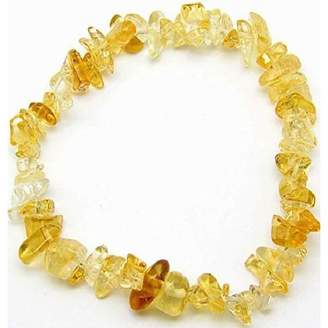 mindfulness perler naturlige helbredende steiner crystal chips armbånd for kvinner - premium chakra krystaller perle armbånd - elastiske edelstener (sitrin)