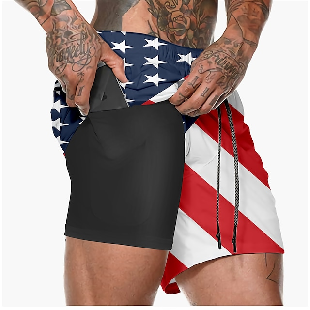 21Grams Men's Running Shorts Athletic Shorts Bottoms 3D Print 2 in 1 Split Summer Fitness Gym Workout Running Training Exercise Quick Dry Breathable Soft Sport American Flag 1# 2# 3# 4# / Athleisure