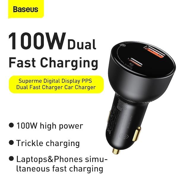 BASEUS 100 W Potenza di uscita USB USB C Caricatore PD Presa per caricabatteria USB per auto Caricatore veloce Caricatore del telefono Multiuscita Ricarica veloce Per Universale