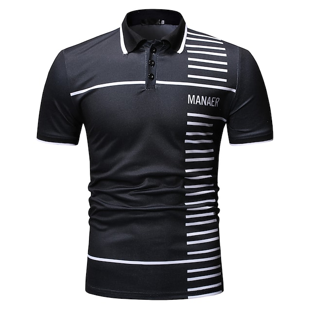 Men's Golf Shirt non-printing Letter Short Sleeve Daily Tops Classic Black Navy Blue
