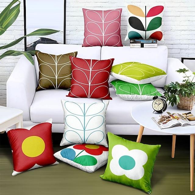 Doppelseitenkissenbezug 1pc Kunstleinen weicher dekorativer quadratischer Kissenbezug für Sofa Schlafzimmer Autostuhl hochwertige Outdoor-Kissen für Terrasse Garten Bauernhausbank Couch
