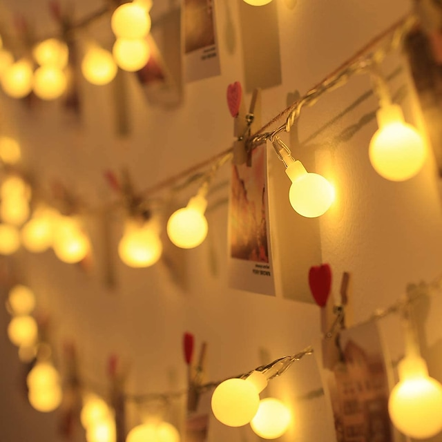 LEDボールストリングライト屋外結婚式の装飾10mボールチェーンフェアリーガーランドライト電球ライト防水屋外結婚式クリスマスホーム寝室の装飾