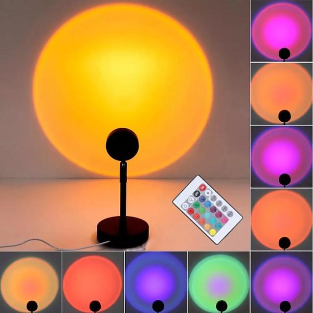 gün batımı projektörü gece lambası rgb led uzaktan kumanda 16 renk ışık gökkuşağı atmosfer projeksiyon lambası ev yatak odası duvar dekorasyonu için usb güç