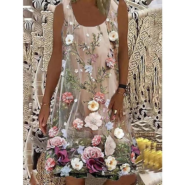 نسائي فستان شيفت فستان طول الركبة وردي بلاشيهغ بدون كم ورد طباعة الصيف رقبة دائرية كاجوال عتيق 2021 S M L XL XXL XXXL 4XL 5XL / قطن / قطن