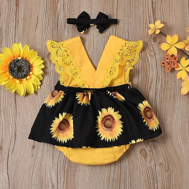 Μωρό Κοριτσίστικα Ενεργό Κυρ Λουλούδι Φλοράλ Στάμπα Αμάνικο Ένα Κομμάτι Θαλασσί Κίτρινο Μαύρο
