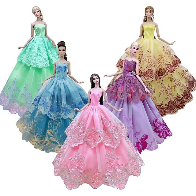 אביזרי בובה ביגוד לבובות שמלת בובה ביגוד טול תחרה בדים פשוט יצירתי קוואי צעצוע בעבודת יד למתנות יום הולדת לילדה צבע אקראי
