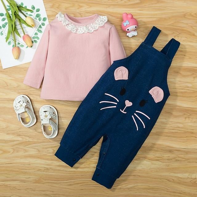 2 개 아가 여아 후디 & 바지 의류 세트 베이직 면 블러슁 핑크 고양이 동물 프린트 긴 소매 보통 / 봄