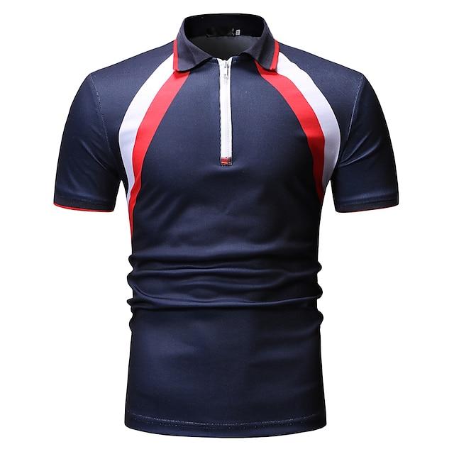 Men's Golf Shirt non-printing Color Block Short Sleeve Daily Tops Classic Black Navy Blue