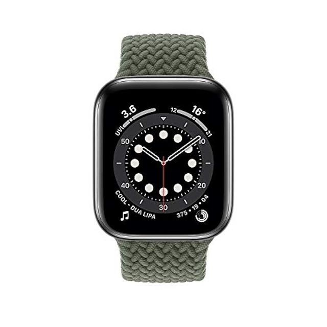smartwatch band braided bracelet compatible for apple watch 44 / 42mm 40 / 38mm, woven solo loop replacement bracelets compatible with iwatch series 6/5/4/3/2/1 / se (inverness green, 40 / 38mm - l)