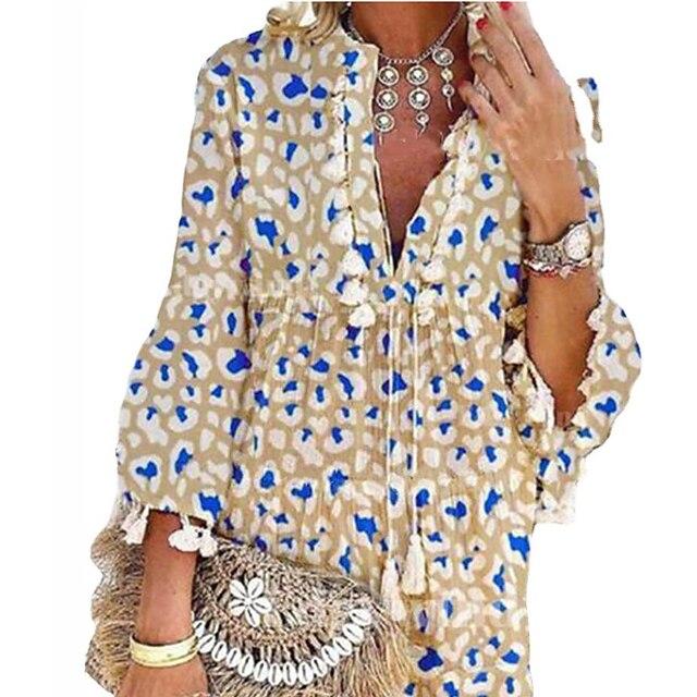 نسائي فستان شكل حرف A فستان طول الركبة كاكي كم طويل تصميم الربيع الصيف بوهو 2021 S M L XL XXL XXXL