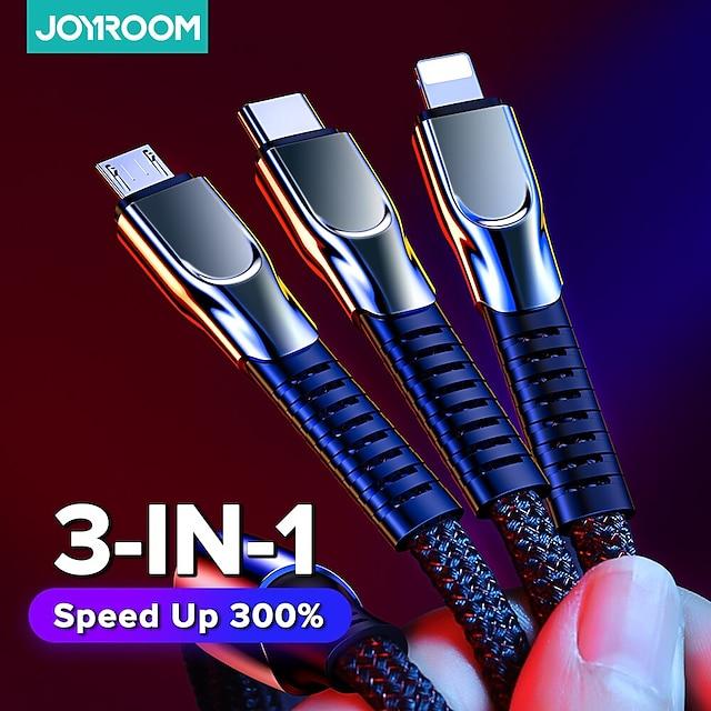 Joyroom Micro-USB Lightning USB C Kabel 3 in 1 Geflochten Schnelle Aufladung 3.5 A 1.3m (4.3Ft) Nylon TPE Für Samsung Xiaomi Huawei Handy-Zubehör