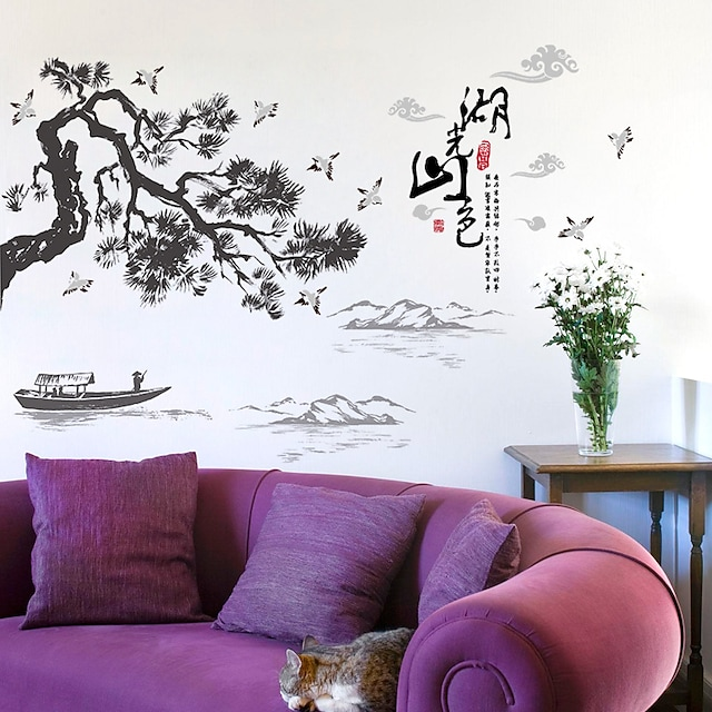 chinese ink landscape landscape calligraphy and painting wall stickers living room sofa tv background dining table wall decoration stickers 60*90CM