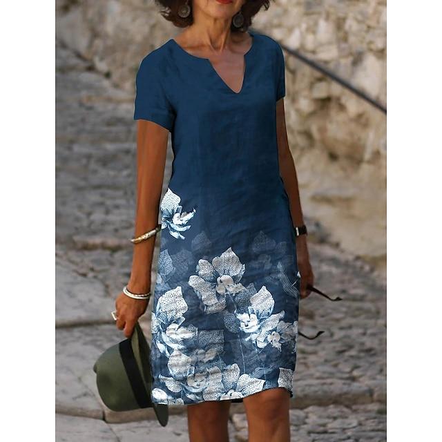نسائي فستان شكل حرف A فستان طول الركبة أزرق كم قصير ورد طباعة الربيع الصيف V رقبة كاجوال 2021 S M L XL XXL 3XL