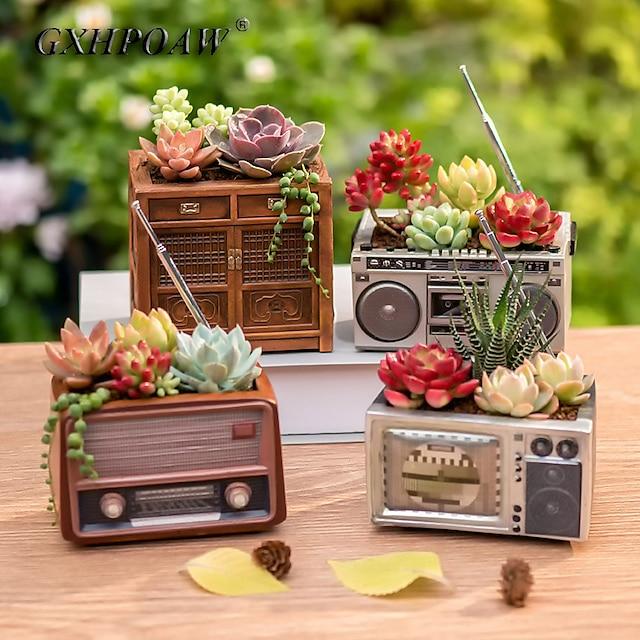 ретро восьмидесятые дизайн телевизора креативность цветочный горшок радио дизайн в горшке из смолы винтажный дизайн деревянного шкафа маленькие комнатные растения
