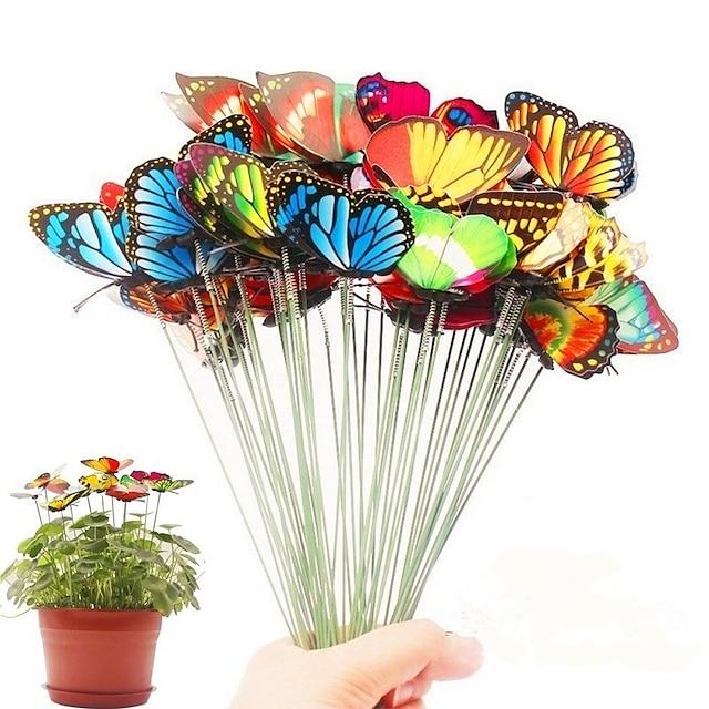 100 unids manojo de mariposas jardín jardín jardinera coloridas mariposas caprichosas estacas decoracion decoración al aire libre macetas decoración