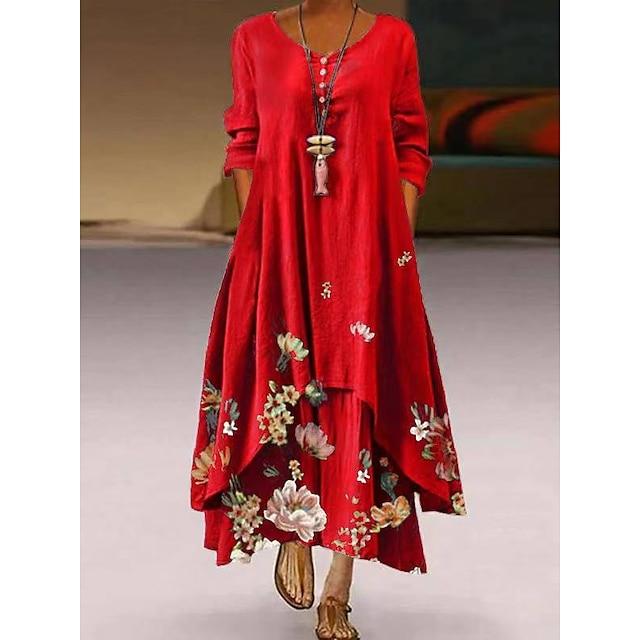 Žene Ljuljačka haljina Maks haljina Crvena Dugih rukava Ispis Džep Kolaž Ispis Proljeće Ljeto Okrugli izrez Ležerne prilike Vintage 2021 S M L XL XXL XXXL 4XL 5XL