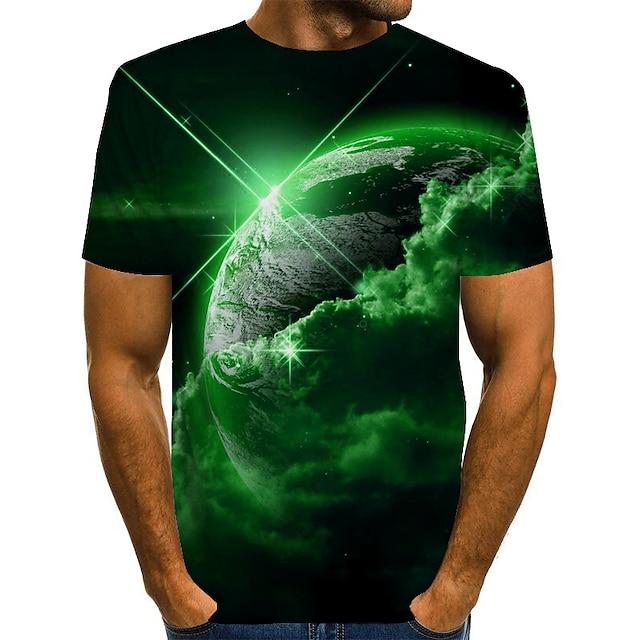 남성용 남여 공용 티셔츠 T 셔츠 3D 인쇄 프린트 그래픽 성간 플러스 사이즈 짧은 소매 캐쥬얼 탑스 빈티지 노블티 라운드 넥 푸른 퍼플 옐로우