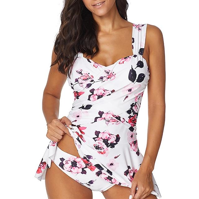 여자 v 넥 원피스 수영복 swimdress tummy control swim dress flower print skirt swimwear dress white with flower xl (fits like us 14-16)