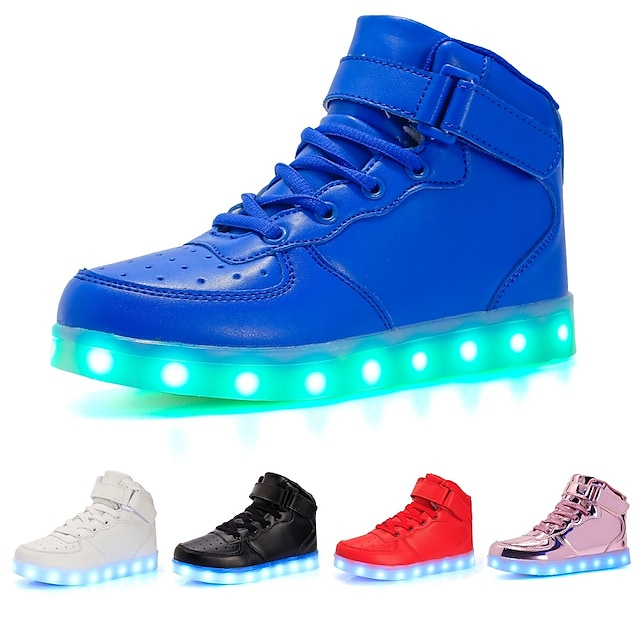 Girls' Sneakers LED Light Up Shoes USB Charging PU Flashing Luminous Dance Party Birthday Gift White Black Red Spring Spring Summer