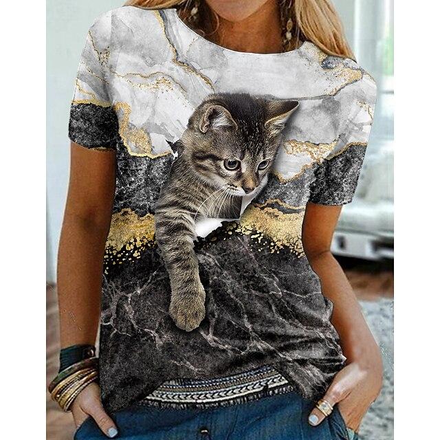 Women's 3D Cat Painting T shirt Cat Graphic 3D Print Round Neck Basic Tops Black