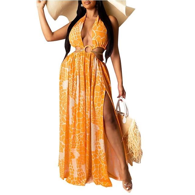 نسائي فستان سوينج فستان طويل أصفر برتقالي أسود بدون كم طباعة طباعة الصيف V رقبة مثيرة بوهو مناسب للعطلات 2021 S M L XL
