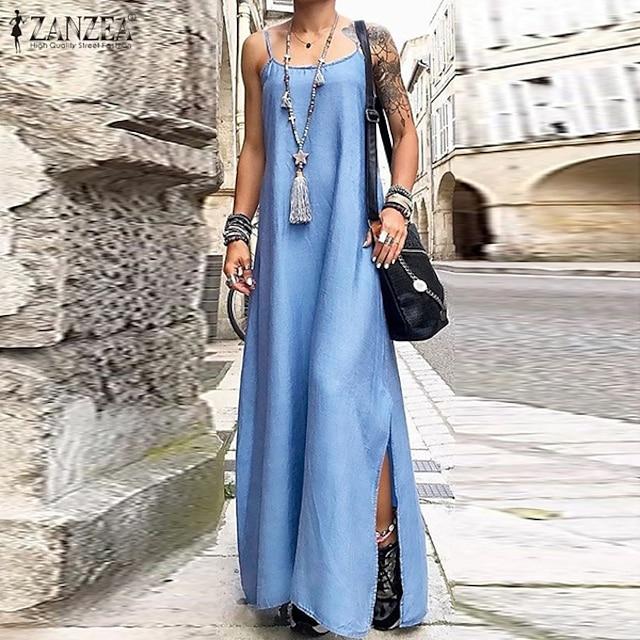 Dámské Džínové šaty Maxi dlouhé šaty Světle modrá Tmavomodrá Bez rukávů Pevná barva Jaro Léto Na běžné nošení 2021 S M L XL XXL XXXL 4XL 5XL